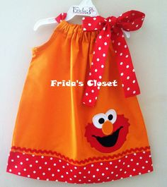Adorable Elmo pillowcase dress available any colors blue, hot pink, black, pink