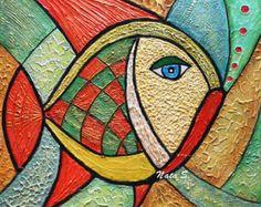 Pesci astratti pittura originale texture grande di NataSgallery