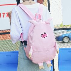 """Pink/black/milk white cute pig canvas backpack SE10331 Use code """"moni"""" for 10% off."""