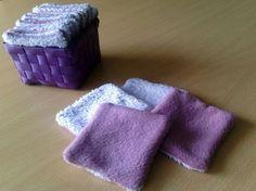 Lingettes démaquillantes lavables - mi polaire, mi serviette éponge - Les Bricoles de l'Arsouille                                                                                                                                                     Plus