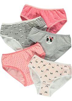 Girls 5 Pack Panda Print Knickers - Matalan
