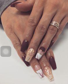 Matte burgundy, foil, marble nails