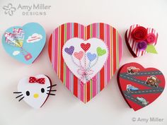 Cute and crafty ideas for giving Valentine's chocolate boxes a makeover - from Amy Miller Designs