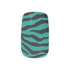 Turquoise Glitter Zebra Stripe Animal Print Nails