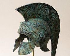 Greek Key Crest Bronze Helmet Ancient Corinthian by GreekMythos