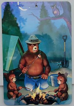 Smokey Bear Campfire Sign USA Made U s Forest Service Vintage Antique Image