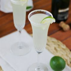 Champagne Margaritas! For 2 Margaritas: 4 T. Rose's Sweetened Lime Juice 2 oz. white tequila 2 oz. Triple Sec 1 T. fresh squeezed lime juice 6 oz. brut champagne/sparkling wine  Read more at http://www.thekitchenismyplayground.com/