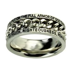 """Christian Mens Stainless Steel 10mm Abstinence """"Put on the Full Armor of God that You May be Able to Stand Firm Against the Schemes of the Devil"""" Ephesians 6:10-18 """"Truth, Righteousness, Peace, Faith, Salvation, The Word, Prayer"""" Chain Spinner Chastity Ring for Boys - Guys Purity Ring Spirit & Truth. $23.99"""