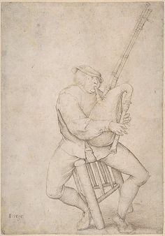 16th cent - Copy after Breugel - Seated Man, Precariously Balanced, Playing Bagpipes  The Met