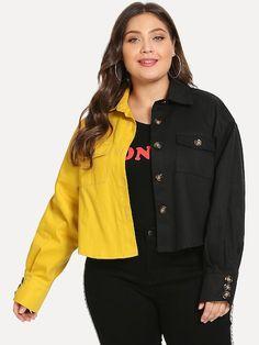 a2dc471d8de Shop Plus Colorblock Collar Jacket online. SHEIN offers Plus Colorblock  Collar Jacket   more to fit your fashionable needs.