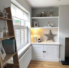 Classic look alcoves with panelling behind the shelves Perfect  Total shutter envy too! Alcove Ideas Living Room, Bedroom Alcove, Living Room Shelves, Home Living Room, Interior Design Living Room, Living Room Designs, Living Room Decor, Bedroom Storage, Bedroom Ideas
