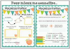 French Back-to-school printables: get to know worksheets. Beginning Of School, First Day Of School, Back To School, French Teacher, Teaching French, Teacher Blogs, Best Teacher, Teaching Tools, Teaching Resources