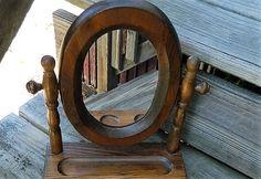 Wood Framed Vanity Mirror Dresser Top Swivel by APurpleClover