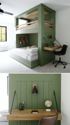 Here are the printable plans for this DIY built-in bunk bed. Room Design Bedroom, Home Room Design, Home Bedroom, Home Interior Design, Bedroom Decor, Kids Bedroom Designs, Small Room Design, Loft Design, Kids Room Design
