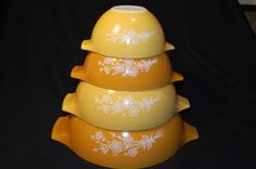 Vintage Pyrex Butterfly Gold 2 Nesting Mixing Bowls on Etsy, $60.00