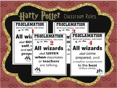 "Perfect for any Harry Potter themed classroom! Designed as ""Educational Proclamations"" from Harry Potter and the Order of the Phoenix book; set includes 4 pre-made rule posters PLUS a bonus BLANK educational decree for you to add your own classroom rule."