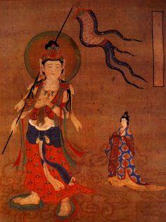 神話圖 Tang Dynasty Fat Lady and Bodhisattva guide, From the British Museum...originally from Mogao caves, Dunhuang