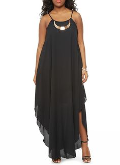 Rainbow Shops Plus Size Halter Flyaway Maxi Dress with Metal Accent $24.99