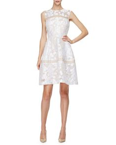 Sleeveless+Sheer-Inset+Mini+Dress,+Ivory+by+Lela+Rose+at+Neiman+Marcus.