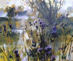 Chris Forsey > Thistles and Morning Mist Abstract Landscape Painting, Watercolor Landscape, Watercolor And Ink, Landscape Art, Landscape Paintings, Watercolor Paintings, Acrylic Paintings, Watercolours, Acrylic Art