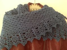 Half granny square shawl with all shawl edging