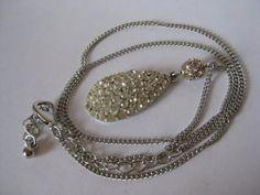 Rhinestone Teardrop Necklace Clear Silver by vintagejewelryalcove, $10.50