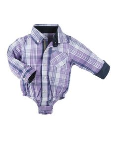 This Purple Plaid Shirtzie Bodysuit by Andy & Evan is perfect! #zulilyfinds