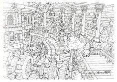Lindblum_Castle_Base_Level_FF9_Art_1.jpg (1619×1138)