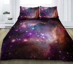 Galaxy bedding set galaxy duvet cover with sheets and pillowcases nebula print bedding sets custom made all sizes