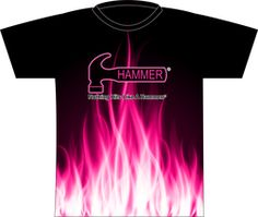 Hammer Pink Flame Dye Sublimated Jersey. Flames in pink! This design brought to you using Style 0015!  Hammer logo full front and full back.