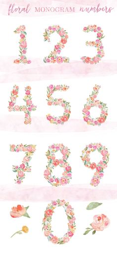 These Watercolor Flower Numbers are Perfect for Your Next Creative, Watercolor Project. Watercolor Flower Number Monograms Clip Art Images.
