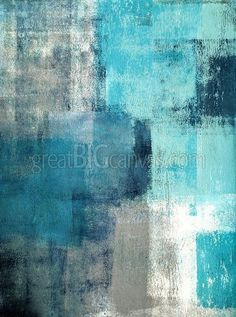 Zoom: Selected - Modern teal and gray abstract painting   Great Big Canvas