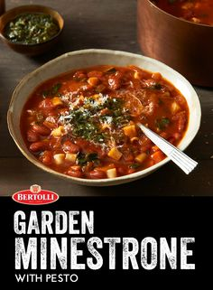 Enjoy all your favorite fresh vegetables with this delicious take on Italy's most classic soup. Garden Minestrone with Pesto mixes carrots and zucchini with Bertolli Tomato and Basil sauce to make a wonderful soup that comes with a delectable pesto garnish. Buon appetito!