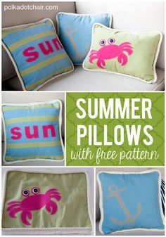 DIY Summer Pillow tutorial. Includes free templates to make the crab and anchor pillows. Cute for outdoor decor.