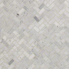 Bianco Carrara Herringbone Marble Mosaic - 12in. x 12in. - 931100251   Floor and Decor $13.99/each