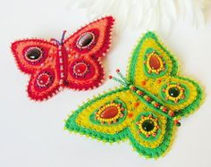 Felt Butterfly brooch Bead embroidery Butterfly Pin Embroidered felt jewelry Girls brooch Summer jewelry MADE TO ORDER
