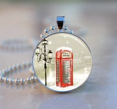 English Red Telephone Box Snow Scene Domed Resin Art by artyscapes