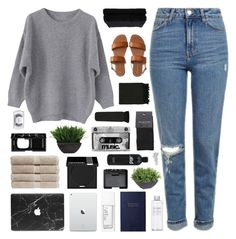 """""""brown."""" by snowflakes-in-summer ❤ liked on Polyvore featuring Topshop, Smythson, Christy, Lux-Art Silks, Aéropostale, NARS Cosmetics, MAKE UP FOR EVER, MAC Cosmetics, Surya and Muji"""