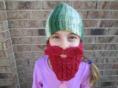 Ready to ship  My 6 year old Grand daughter is modeling for me ! This is a great unique one of a kind Childrens beard hat for boys or girls! Even