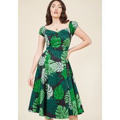 Collectif Tickle Me Picnic A-Line Dress in Tropical Fronds (€20) ❤ liked on Polyvore featuring dresses, off the shoulder party dresses, holiday party dresses, going out dresses, off-shoulder dresses and a-line dresses