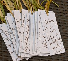 bookmarks1_plurabelle_calligraphy // @Bonnie Biro - This was something we had done at the book themed shower we hosted last year. I bet you could make amazing ones with your design skills!!