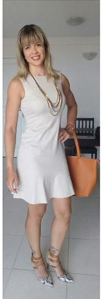 look de trabalho - vestido - vestido nude - bolsa caramelo - sapato animal print