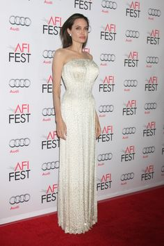 Angelina Jolie at the By the Sea AFI FEST Premiere wearing Atelier Versace.