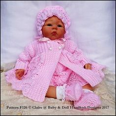 KNITTING PATTERN for a feathered lacy dress, pants, jacket, headband, bonnet and bootees. Fits a doll or a baby. double knitting yarn (US: light worsted). Baby Knitting Patterns, Knitting Designs, Baby Patterns, Hand Knitting, Jumper Patterns, Crochet Patterns, Knitting Dolls Clothes, Crochet Baby Clothes, Reborn Dolls