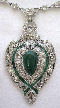 Art Deco Platinum Diamond & Emerald Necklace