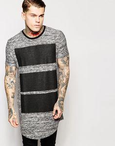 Image 1 of ASOS Super Longline T-Shirt in Slub with Block Print