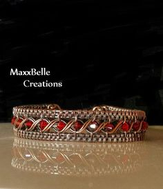 Red Crystal Egyptian Style Wire Weave Copper by MaxxBelleCreations