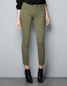 SLIM FIT POP FABRIC JEANS - Trousers - Woman - ZARA United States - Size 10 please