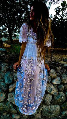lovely lacy long summer dress