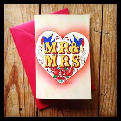 Rockabilly Mr & Mrs Congratulations wedding card, invitations with Tattoo Swallows and roses by DiabloJos on Etsy https://www.etsy.com/listing/242694842/rockabilly-mr-mrs-congratulations